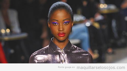 Maquillaje ojos verano para pieles morenas y de raza negra, color violeta