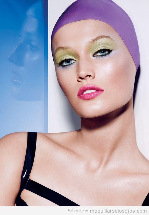 Ideas para maquillaje de ojos para primavera verano en verde lima