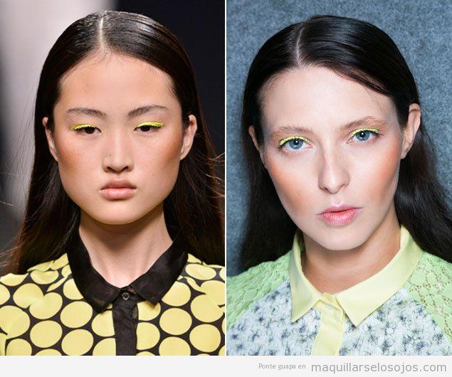 Maquillaje para primavera verano, eyeliner en amarillo neón
