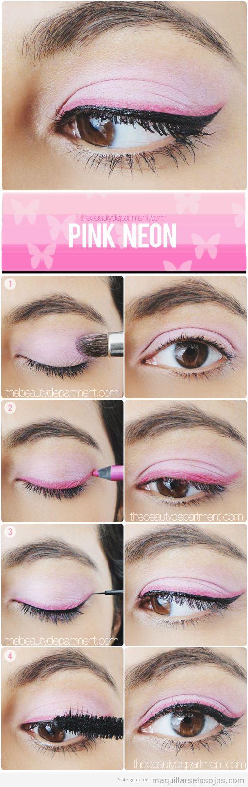 Tutorial maquillaje de ojos doble línea en rosa neón y  negro