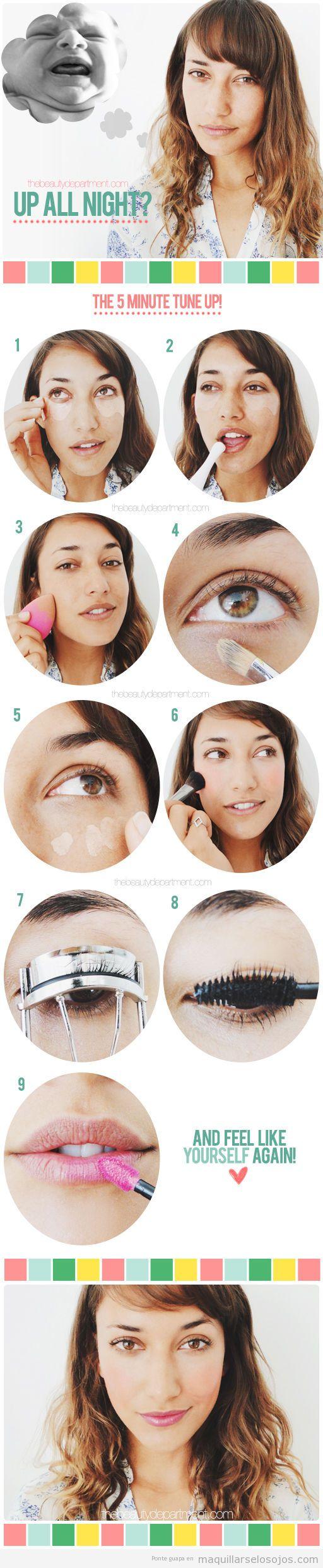 Tutorial  paso a paso maquillaje rápido si no has dormido