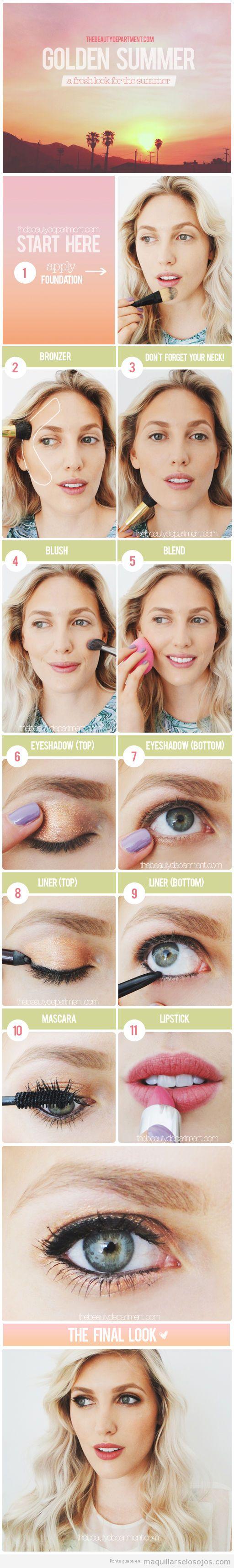 Tutorial maquillaje ojos verano en tonos dorados