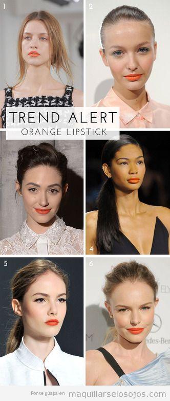 Maquillaje verano 2014, eyeliner negro, labios color naranja