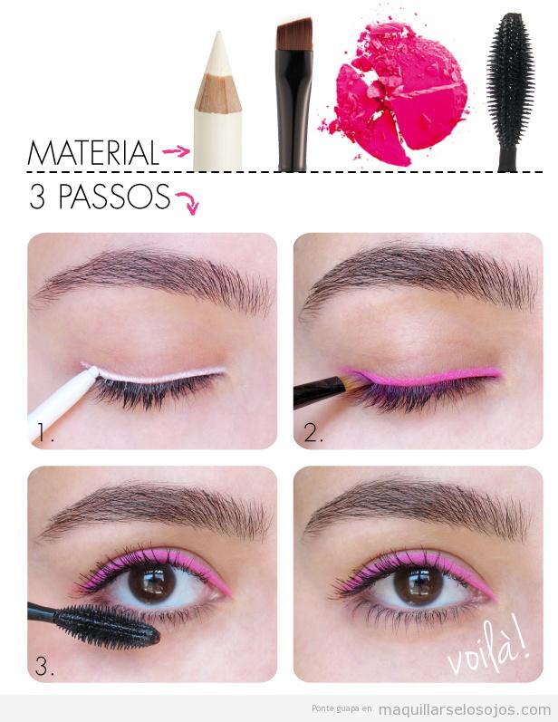 Tutorial paso a paso, maquillaje de ojos con eyeliner rosa