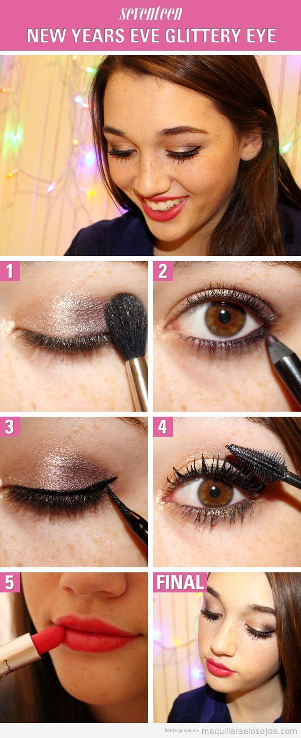 Tutorial aprender maquillaje de ojos dorado para Nochevieja, paso a paso