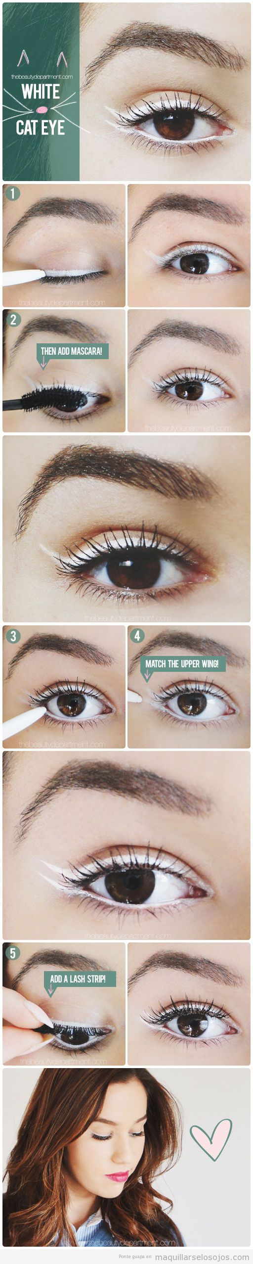 Tutorial maquillaje ojos, cat eye color blanco