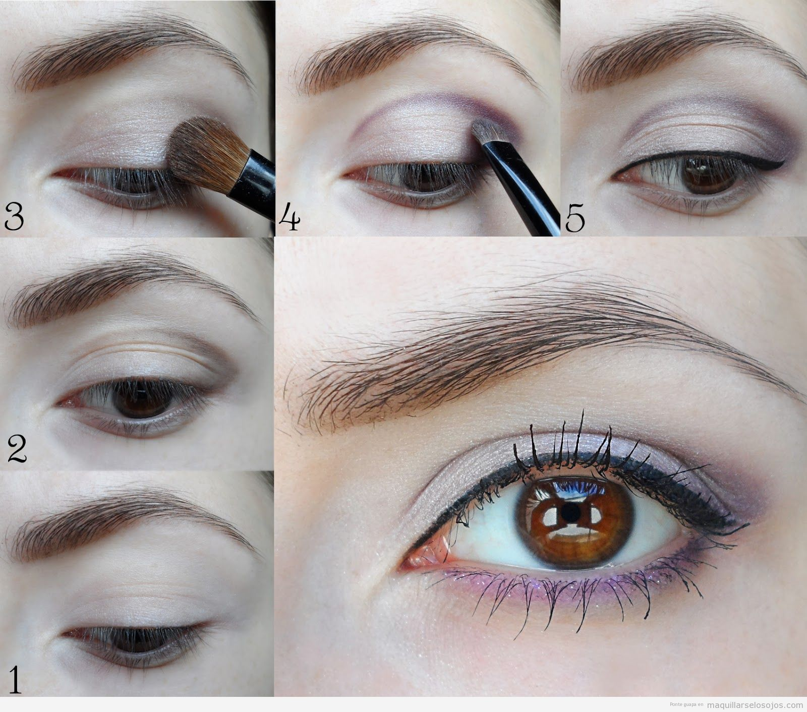 Tutorial maquillaje ojos marrones en color violeta