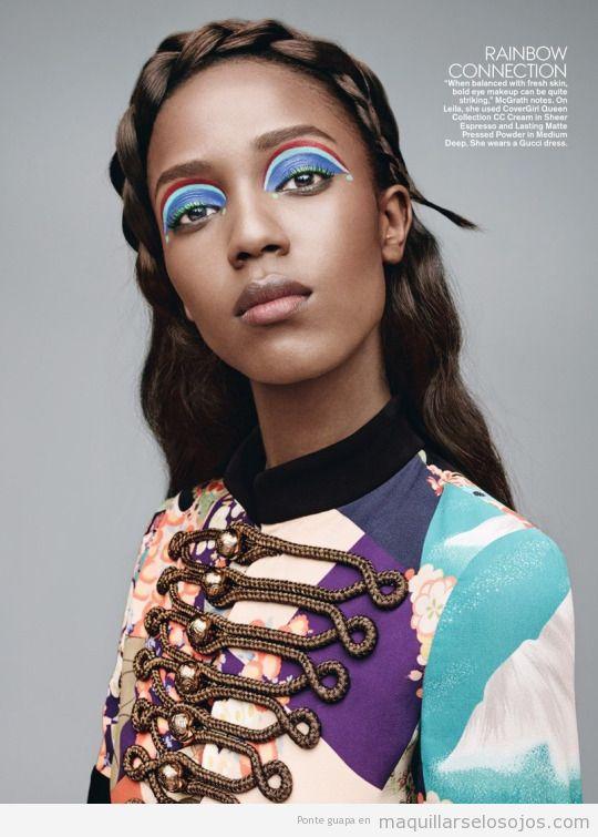 Maquillaje ojos arcoiris, Leila Nda en Teen Vogue Marzo 15