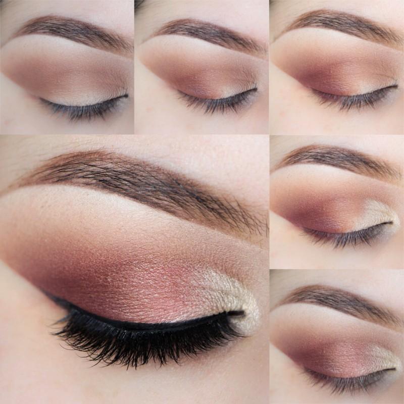 Tutorial maquillaje ojos en tonos rosas y marrones estilo vintage