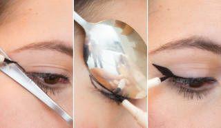 Truco perfilar los ojos utilizando cuchara