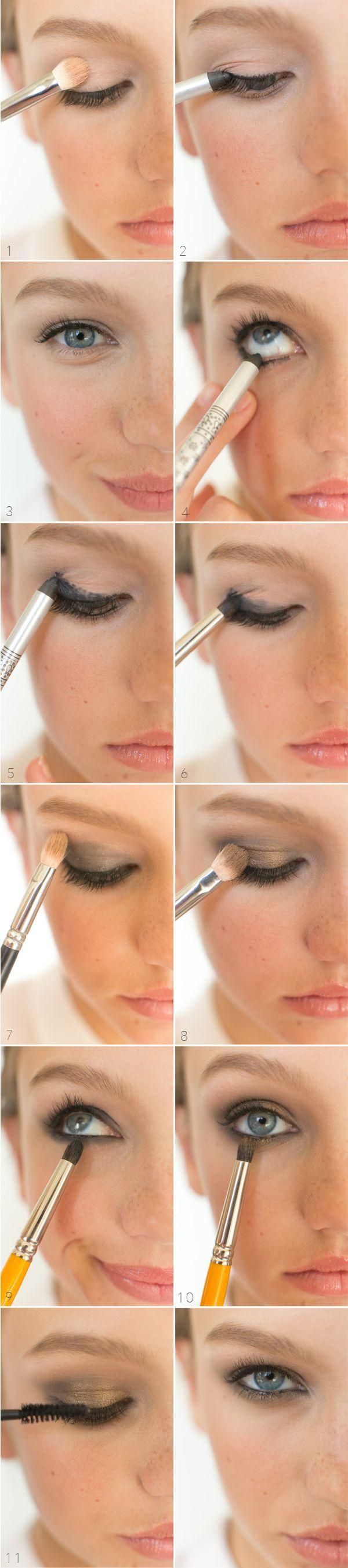 Tutorial maquillaje ojos en negro y dorado para fiestas