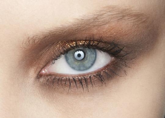 Maquillaje ojos en tonos marrones y dorados para otoño