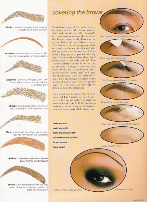 Diferentes diseños y maquillaje de cejas