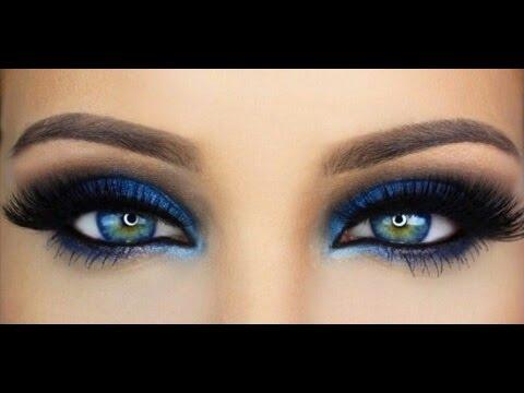 Maquillaje ojos Navidad color azul
