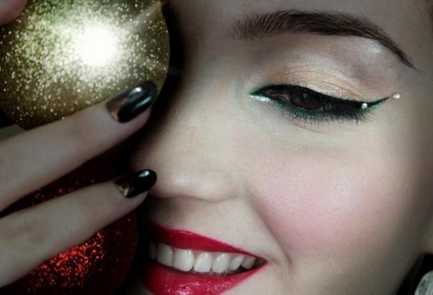 Maquillaje ojos Navidad color dorado y verde