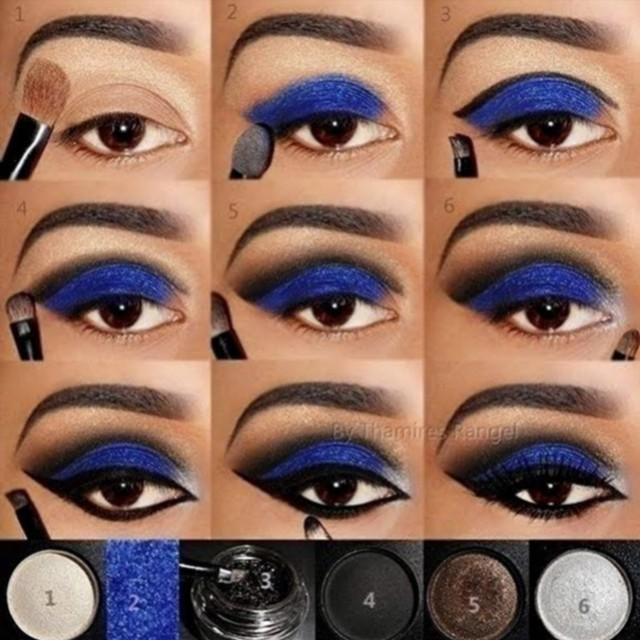 Maquillaje de ojos para fiesta o noche en azul para ojos marrones