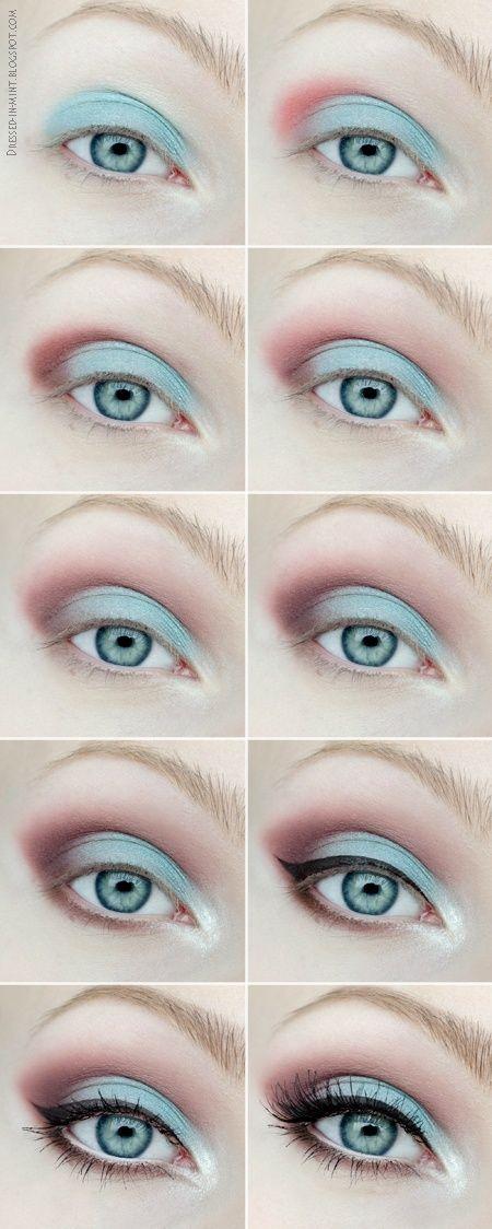 Tutorial maquillaje de ojos sombras azul y rosa para verano y primavera