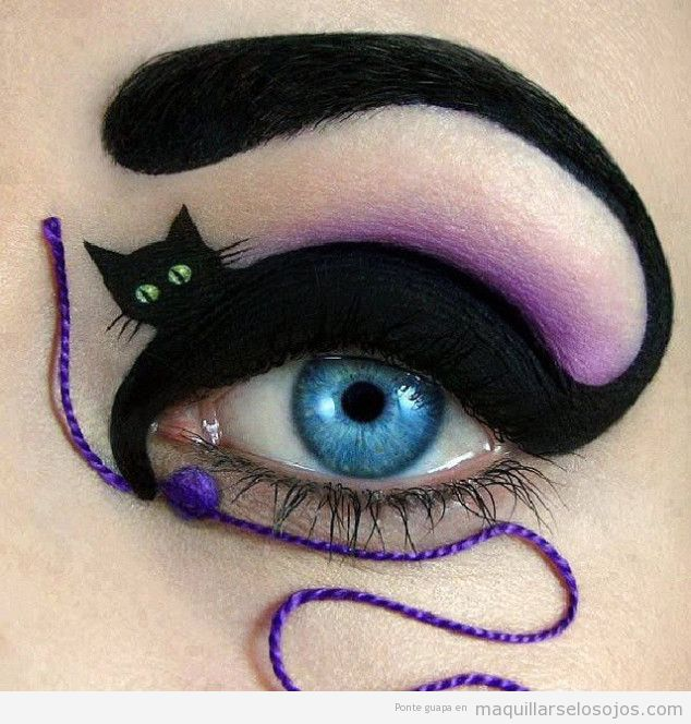 Maquillaje con dibujo de gato para Halloween 2