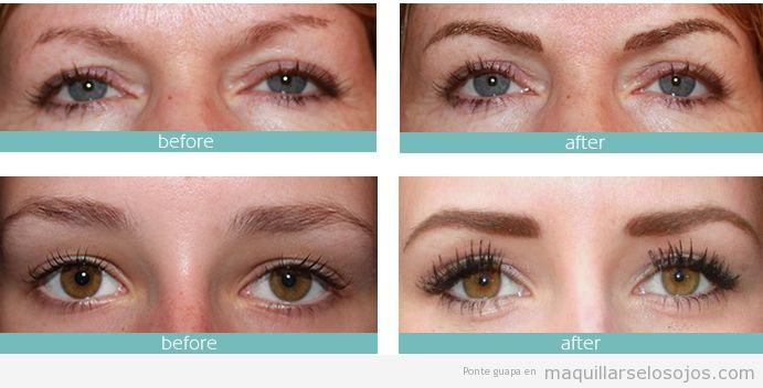 Antes y después micropigmentación cejas mujer