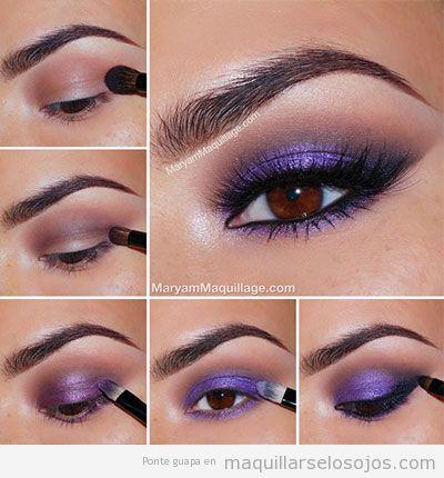 Tutorial maquillaje ojos sombra color lila para ojos marrones 3