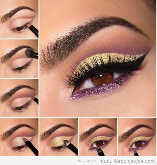 Tutorial maquillaje ojos sombra color lila para ojos marrones