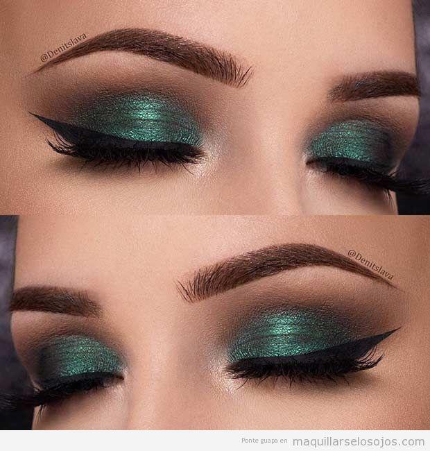 Maquillaje de ojos verde Navidad 2016