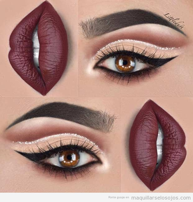 Maquillaje de ojos línea plateada labios oscuros Navidad 2016