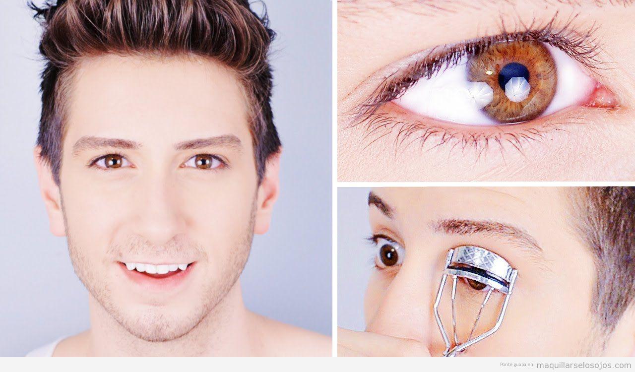Maquillaje de ojos para hombres, rizador pestañas