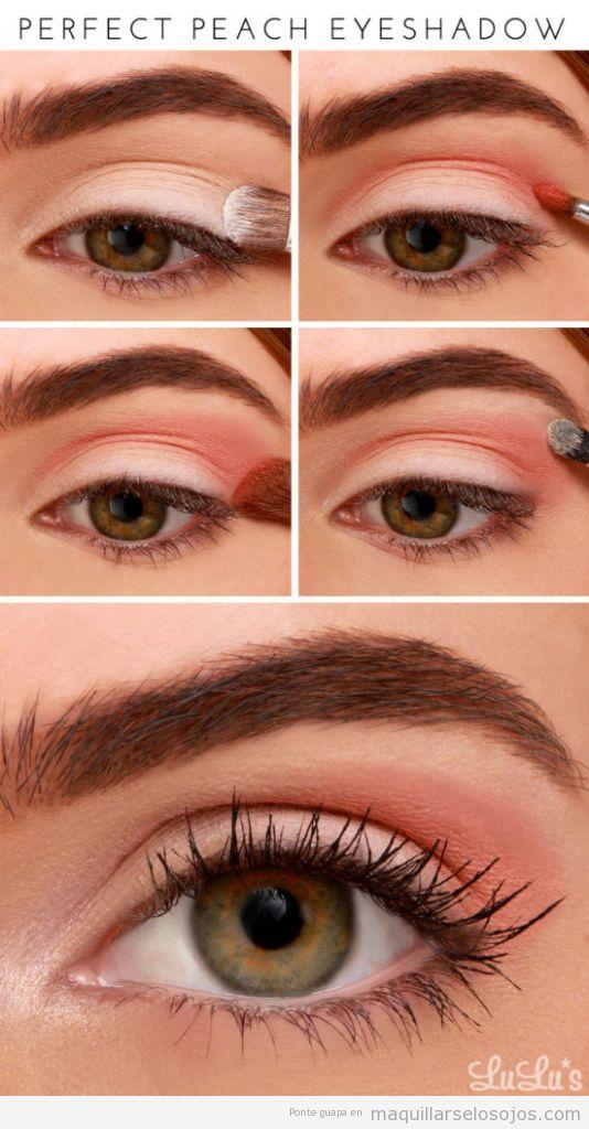 Maquillaje ojos primavera con sombra color melocotón