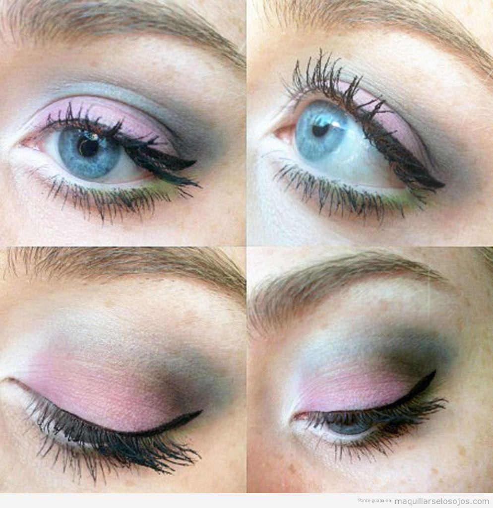 Maquillaje ojos primavera con sombra color rosa y verde