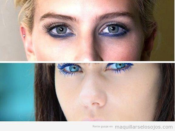 Maquillaje de ojos azules con color azul oscuro