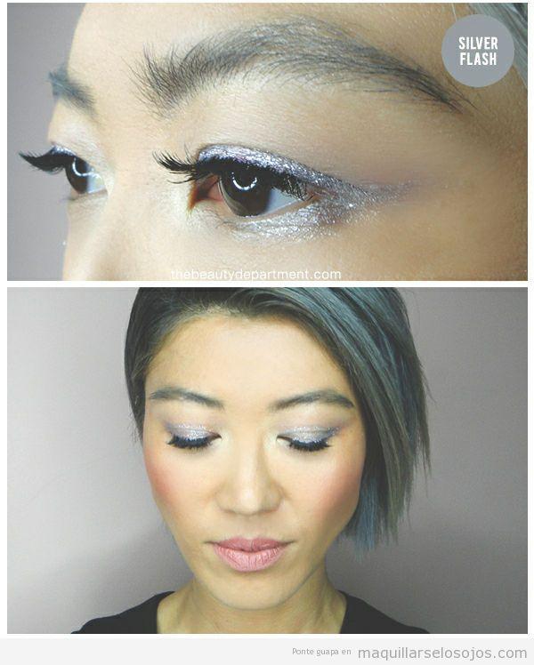 Maquillaje de ojos para festivales de música con purpurina 2