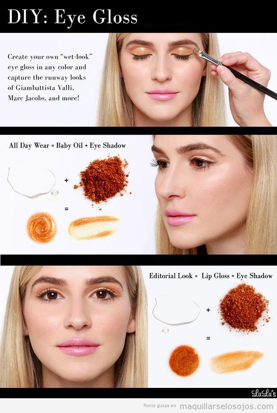 Tutorial maquillaje de ojos con párpados glossy o brillantes 3