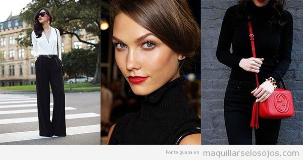 Look elegante negro con labios rojos