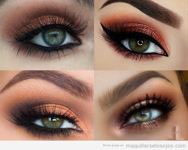 Maquillaje ojos verdes con sombra metalizada bronce o cobre