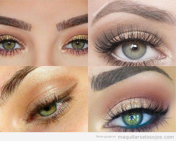 Maquillaje ojos verdes con sombra metalizada dorada
