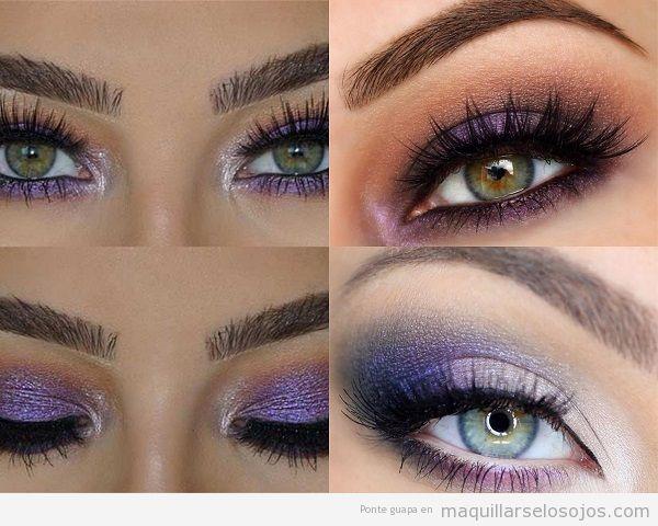 Maquillaje ojos verdes con sombra metalizada lila
