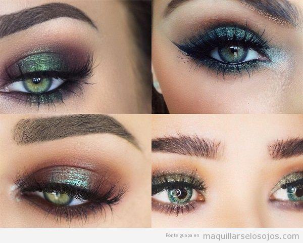 Maquillaje ojos verdes con sombra metalizada verde