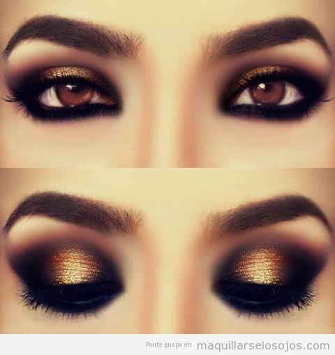 Maquillaje ojos marrones son sombra metalizada 3