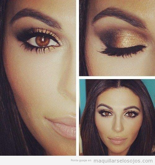 Maquillaje ojos marrones son sombra metalizada 4