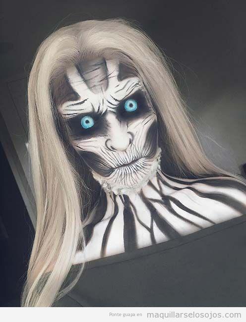 Maquillaje original Halloween, caminante blanco