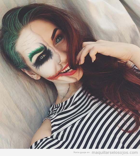 Maquillaje original Halloween, cara mitad Jocker