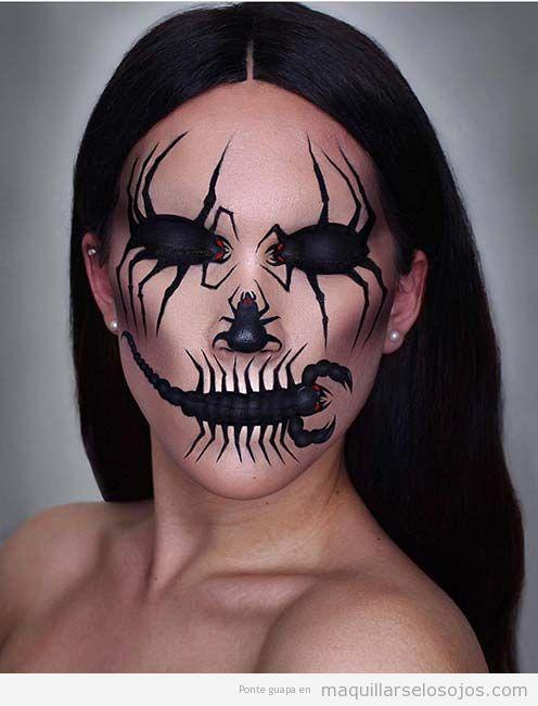 Maquillaje original Halloween, insectos y bichos