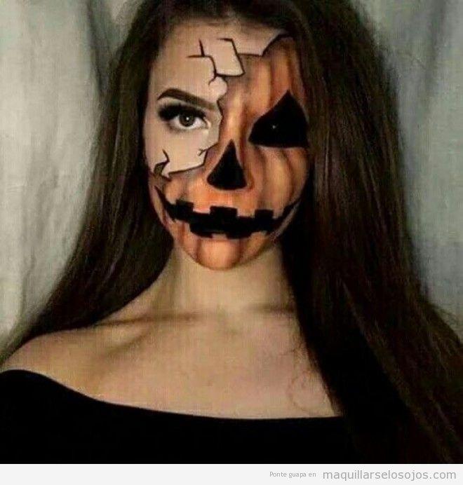 Maquillaje original Halloween, cara mitad calabaza