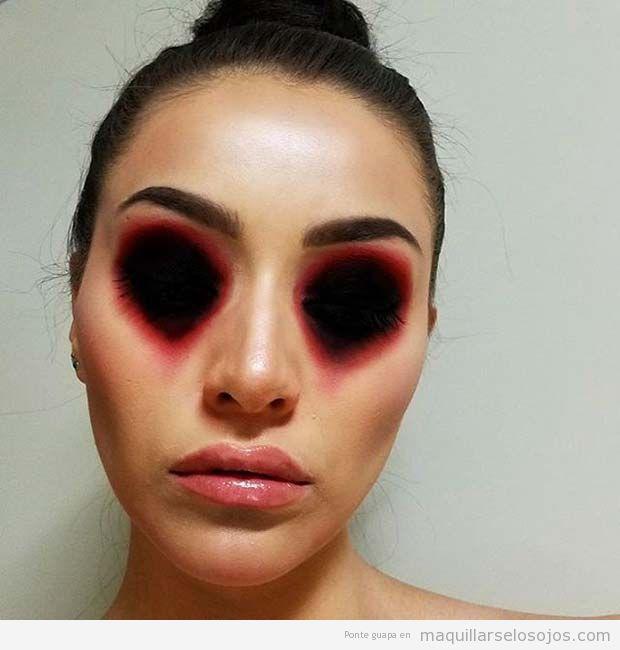 Maquillaje original Halloween, sin ojos