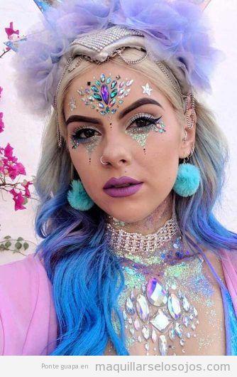 Maquillaje fantasía princesa unicornio