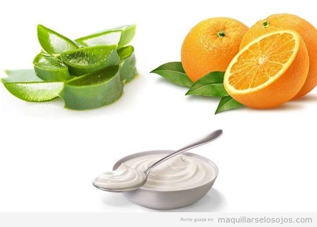 Mascarilla facial casera de yogur, naranja y aloe