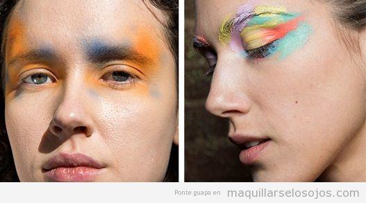 Tendencias maquillaje de ojos otoño invierno 2019, salpicaduras color