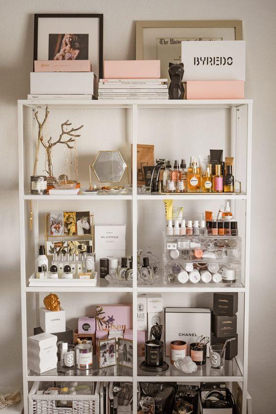 Estantería organizador de maquillaje bonita