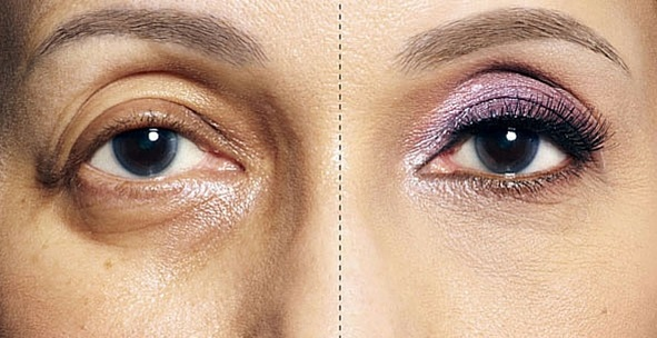 Maquillaje de ojos con sombras claras para disimular los párpados caídos